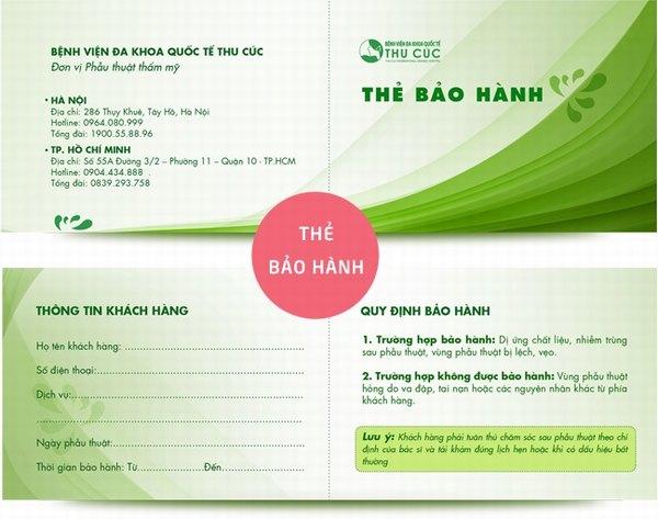 Thẻ bảo hành của Thu Cúc dành cho tất cả các khách hàng sau khi nâng mũi
