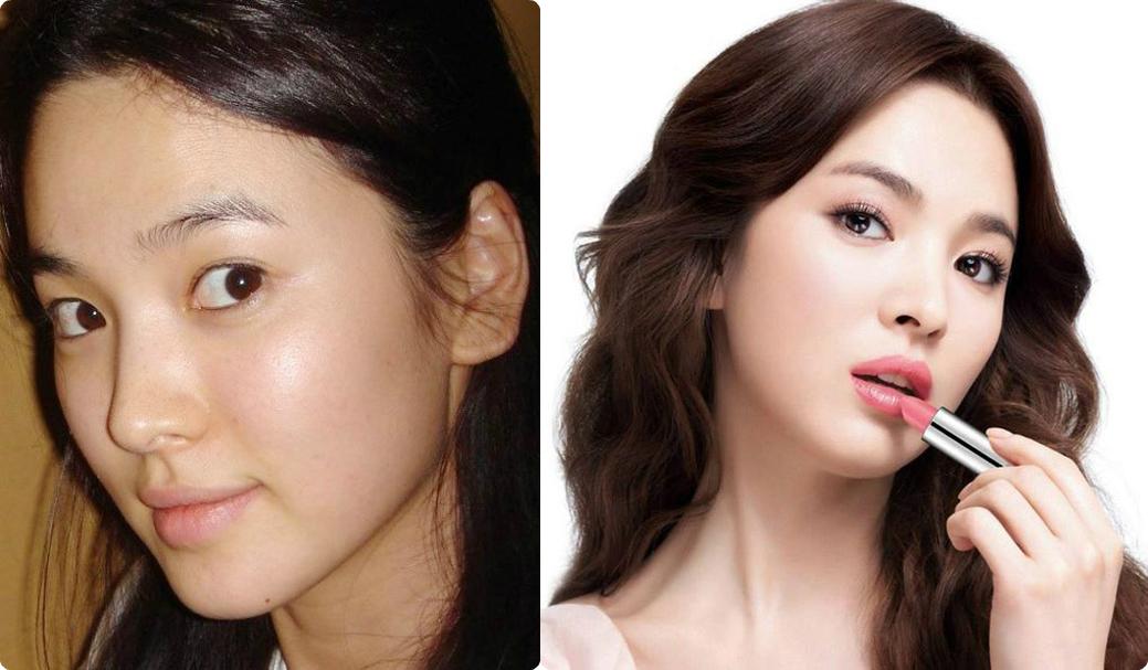 Song Hye Kyo là gương mặt đại diện của hãng mỹ phẩm nổi tiếng Hàn Quốc Laneige bởi làn da luôn khỏe đẹp, căng mịn. Bí quyết của cô chính là hằng ngày ăn súp bí đỏ, đắp mặt nạ lòng trắng trứng và mật ong, làm bạn với mỹ phẩm Laneige.