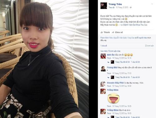 Thu Trang hào hứng check-in trước khi phẫu thuật nâng mũi tại Thu Cúc.