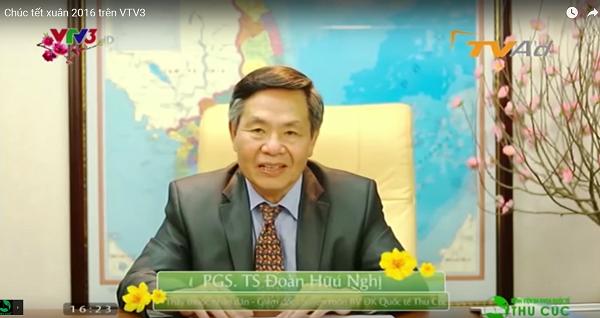 Thông qua sóng truyền hình, PGS.TS Đoàn Hữu Nghị (giám đốc bệnh viện) gửi lời chúc mừng năng mới tới toàn thể khách hàng Thu Cúc và gia đình