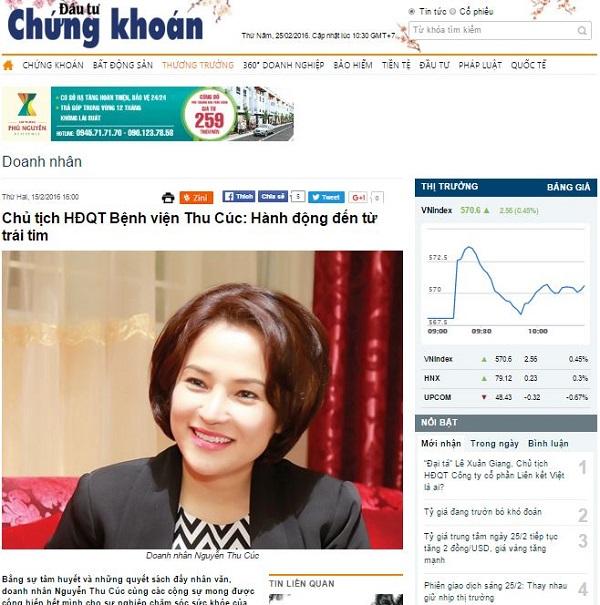 Bài viết về chủ tịch Nguyễn Thu Cúc nổi bật trên báo Đầu tư chứng khoán gần đây