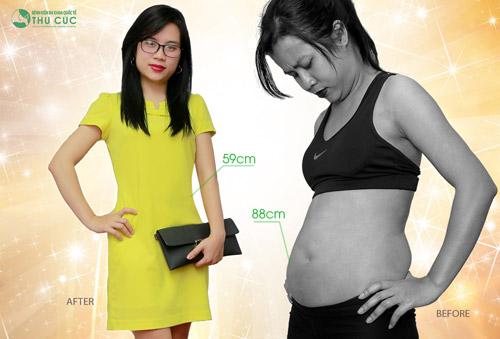 Vòng eo 59cm của chị Thanh Hoa giờ đây đâu có kém Ngọc Trinh là mấy! Eo thon bụng phẳng giúp nữ kế toán 8X tự tin và thành công hơn trong cuộc sống (Lưu ý: Kết quả có thể khác nhau tuỳ cơ địa của từng người ).