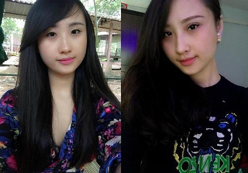Ảnh trước và sau khi cắt mí mắt của Ngọc Dung. Khuôn mặt cô trở nên cuốn hút hơn sau khi phẫu thuật thẩm mỹ.