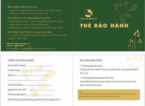 Khách hàng thực hiện phun xăm thẩm mỹ sẽ nhận được thẻ bảo hành miễn phí trong thời gian 3-6 tháng.