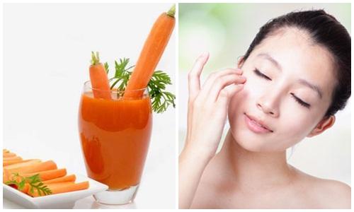 Nên uống nước ép cà rốt từ 2-3 lần/ tuần để giúp trị tàn nhang hiệu quả