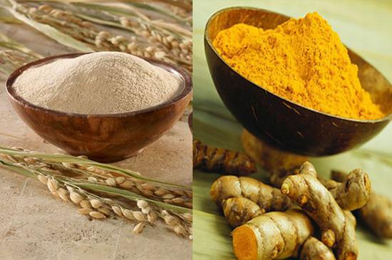 Tẩy lông bằng bột nghệ và bột cám gạo