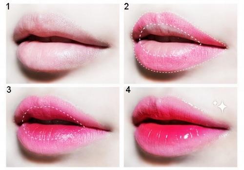 Hướng dẫn trang điểm theo phong cách môi xí muội dành cho những người có đôi môi dày.