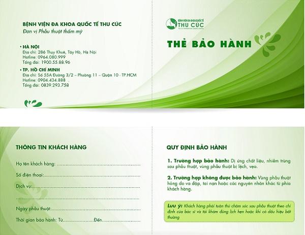 Thẻ bảo hành dịch vụ thẩm mỹ tại Thu Cúc dành cho khách hàng