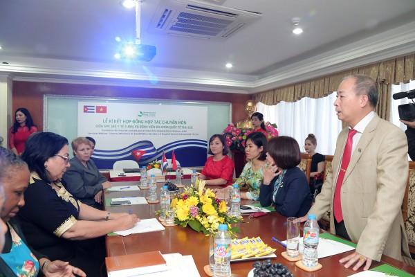 Buổi lễ Lễ ký kết hợp đồng hợp tác chuyên môn giữa Bộ Y tế Cuba với Bệnh viện Đa khoa Quốc tế Thu Cúc chiều 16/3.